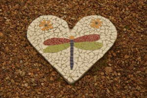 Mosiac Heart with Dragonfly